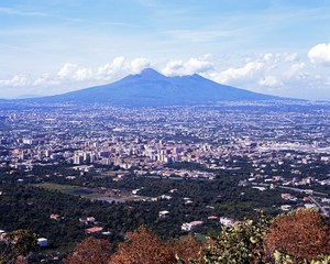 View across city to Mount Vesuvius, Naples, Italy.