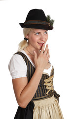 Young blonde woman in traditional bavarian costume