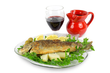 Roasted trout with parsley,lemon,potato,olives and wine