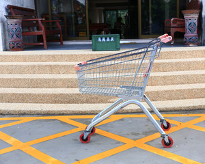 shopping carts on car park near entrance