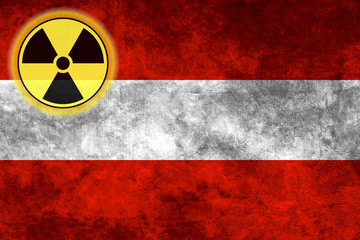 Grunge flag background with nuclear sign - Austria