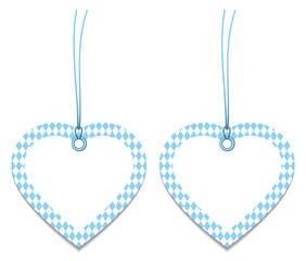 2 Label Hearts Octoberfest Pattern Light Blue