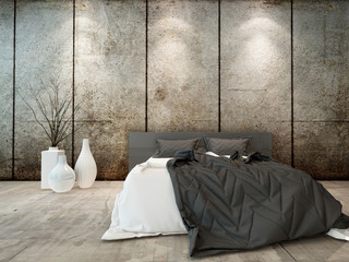 Bedroom interior w. bed in front of concrete wall
