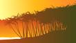 Horizontal illustration palm trees on beach.