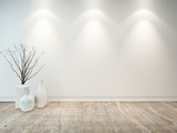 Empty neutral grey room with ornamental vases - 65142235