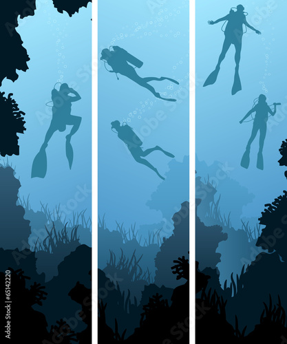 Set banners of divers under water. - 65142220