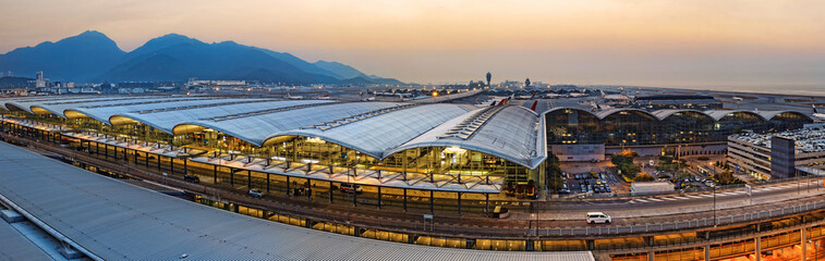 hong kong international airport sunset