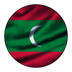 Illustration of a waving flag in a round circle - Maldives