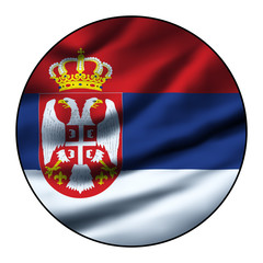 Illustration of a waving flag in a round circle - Serbia