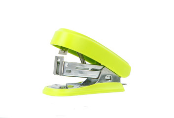 Close up of colorful stapler on white