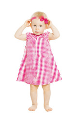 Little girl kid in red dress with bow. Child white isolated