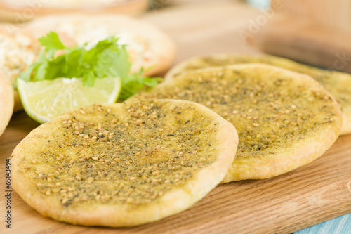 Zaatar & Cheese Manakish - Arabic flatbreads.