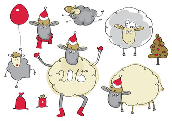 Vector funny sheep cartoons.