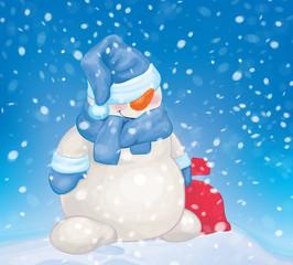 Vector snowman holding bag on snowfall background.