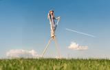 Fototapety Girl on stilts