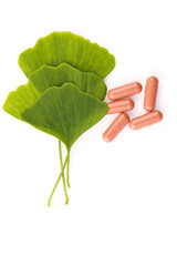 Ginkgo biloba leaves in mortar and pills