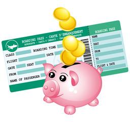 Green boarding pass and piggy bank.