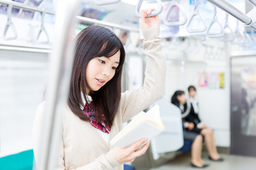 japanese high school student in the train