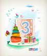 Third Birthday card. Birthday cake and photos
