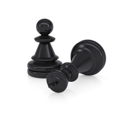 Black defeated chess king is near pawns