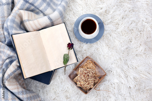 canvas print picture Composition with warm plaid, book, cup of hot drink