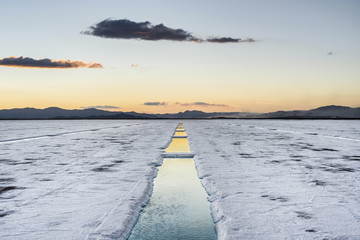 Sunset in Salinas Grandes in Jujuy, Argentina.