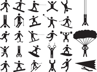 Pictogram people doing extreme sports