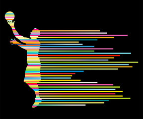 Man basketball player vector background concept made of colorful