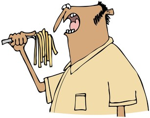 Man eating pasta