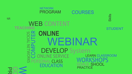 Webinar online develop solutions word tag cloud animation chroma