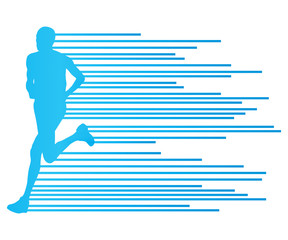Man runner silhouette vector background template concept made of