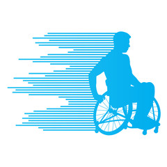 Man in wheelchair disabled people concept made of stripes vector