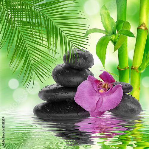 spa Background -  black stones and bamboo on water - 65148259