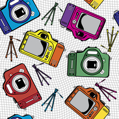 colorful film photo cameras vector seamless pattern