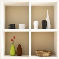 Object on white shelf decorations
