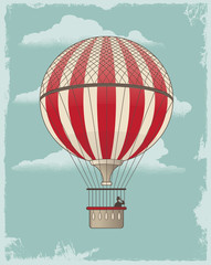 Vintage retro hot air balloon - vector design