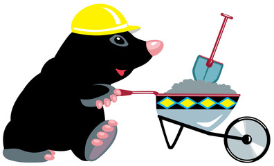 cartoon mole builder with wheelbarrow