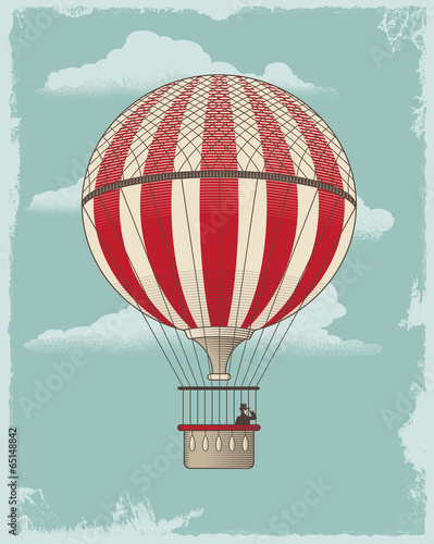 Vintage retro hot air balloon - vector design - 65148842