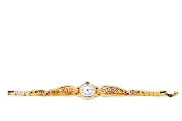 Golden Wristwatches isolated
