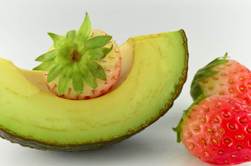 Avocado and strawberry isolated