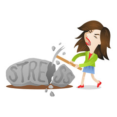 Young woman smashing rock labeled stress, ice ax