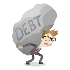 Businessman carrying huge rock labeled debt