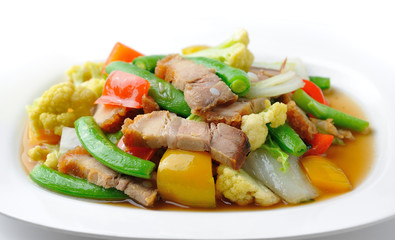stir fried vegetables on white plate ( healthy food)