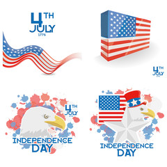 Vector American Independence Day Background Templates Editable
