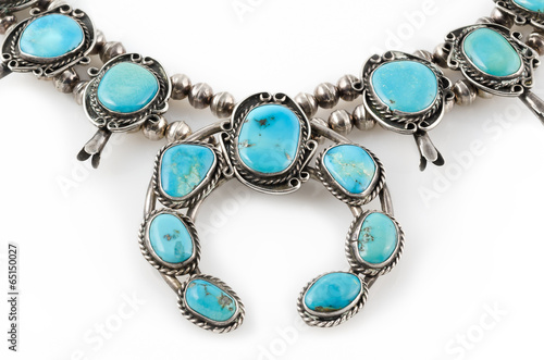 Detail of Silver and Turquoise Squash Blossom Necklace. - 65150027