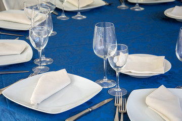 Setting blue table in a restaurant