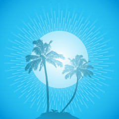 palm tree silhouette background blue