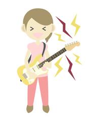 エレキギターを弾く女性 騒音
