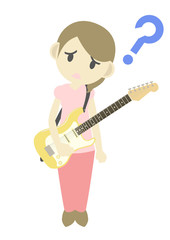 エレキギターを弾く女性 疑問