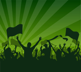 fans celebrating green background